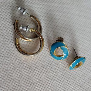 2 Pair Gold Tone Stud Earrings Woven Teal and Hoop
